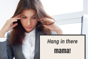 woman in suit, hang in there mama