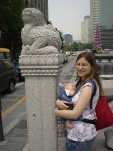 in front of statue