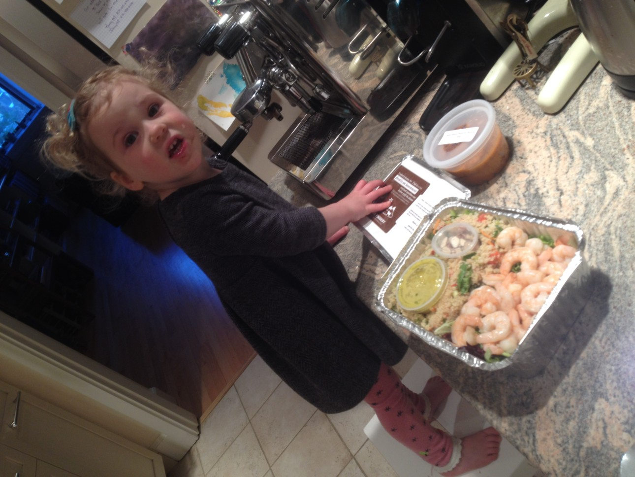 My daughter was eagerly anticipating the quinoa and shrimp bowl. Served with a ginger orange sauce it was delectable.