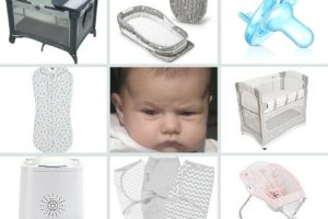 collage of baby sleep items