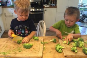 Chopping the broccoli = trying the broccoli!