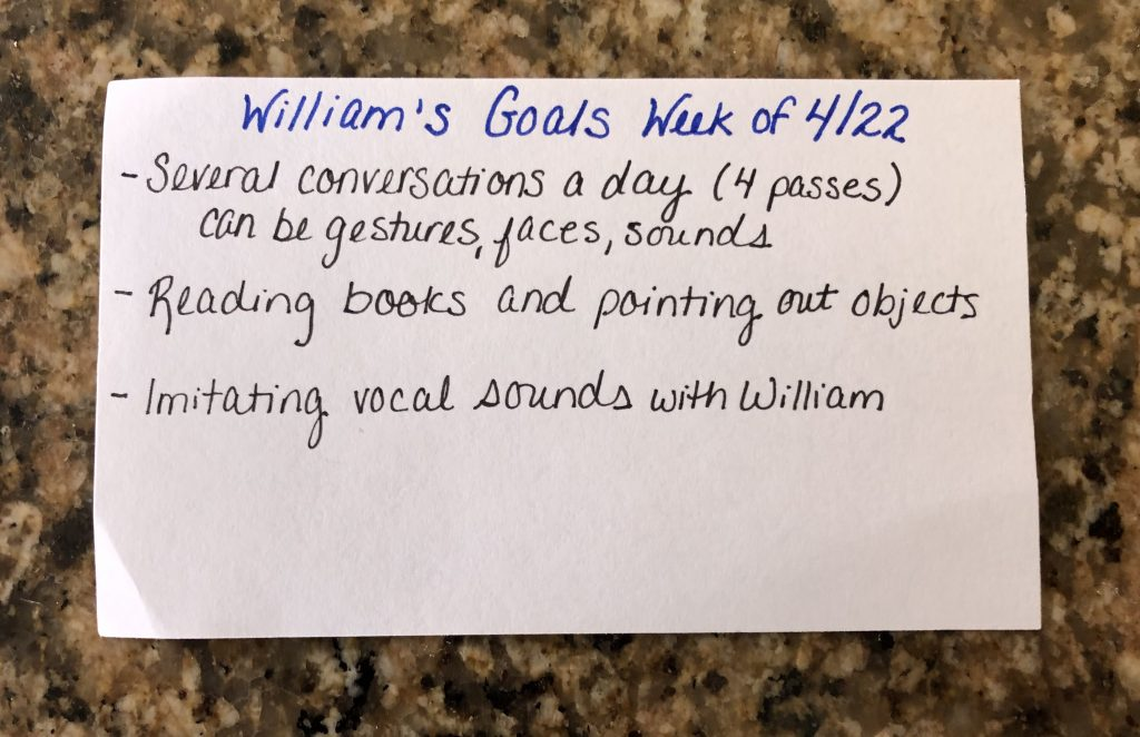 An early intervention goal flashcard for my son.