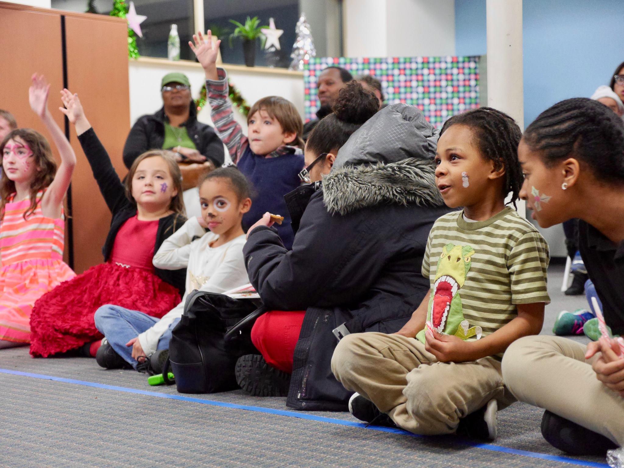 Parents and children sitting