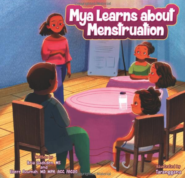 Maya learns about menstruation book image from love your menses