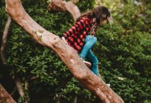 girl in a plaid jacket and jeans looks down from her perch near the top of a tall tree